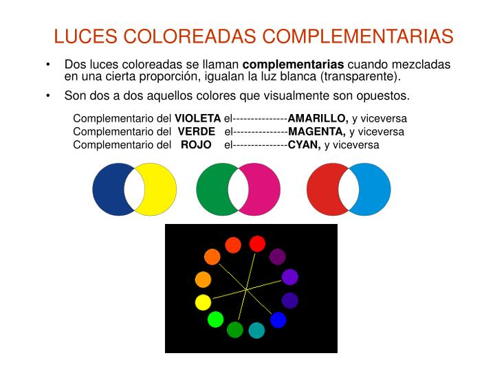 LUCES COLOREADAS COMPLEMENTARIAS