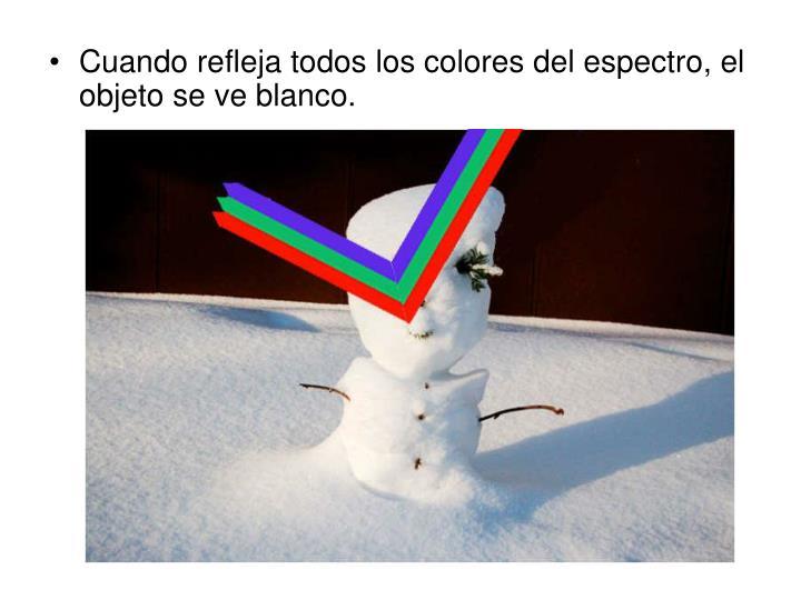 Cuando refleja todos los colores del espectro, el objeto se ve blanco.