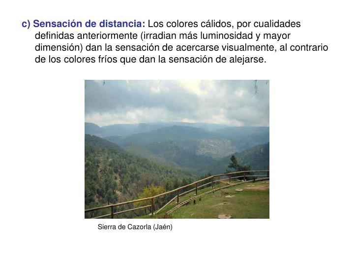 c) Sensación de distancia: