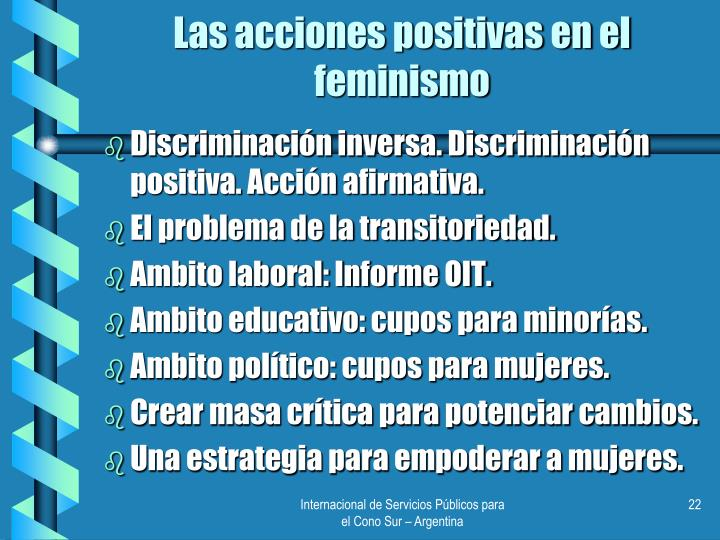 Las acciones positivas en el feminismo