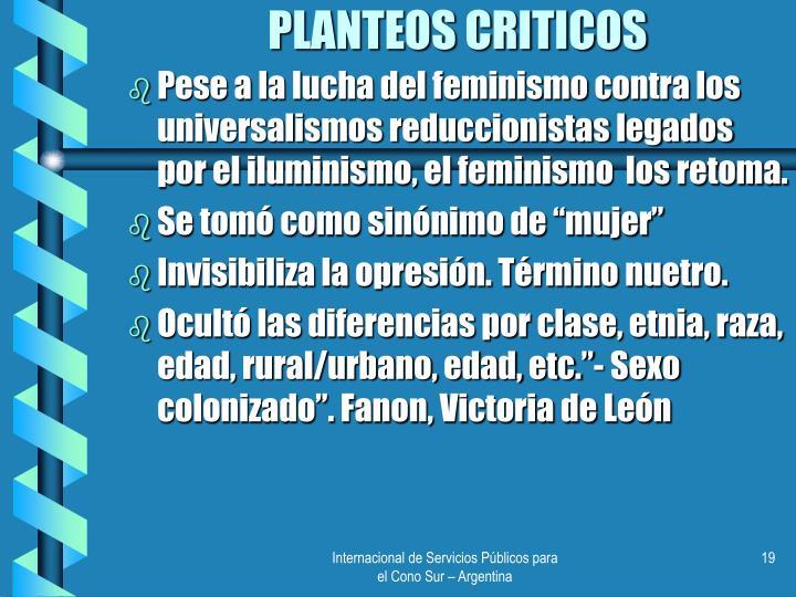 PLANTEOS CRITICOS