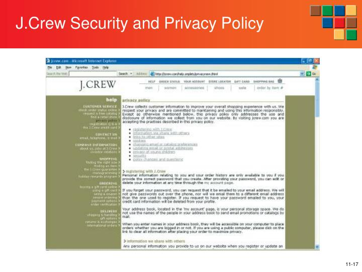 J.Crew Security and Privacy Policy