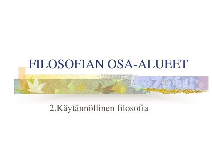 FILOSOFIAN OSA-ALUEET