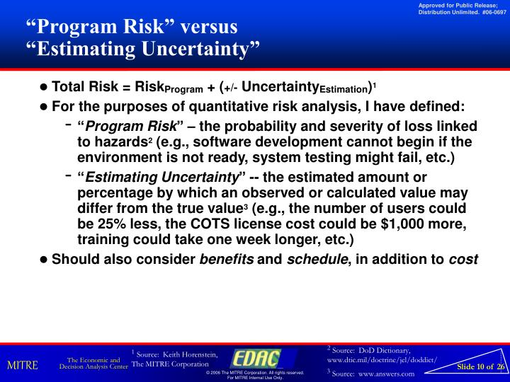 """Program Risk"" versus"