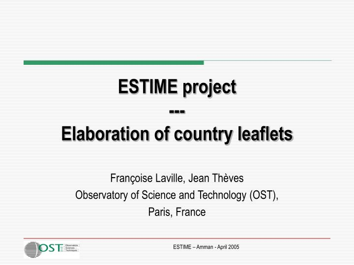 Estime project elaboration of country leaflets