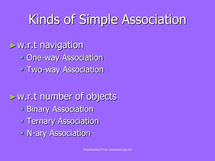 Kinds of Simple Association