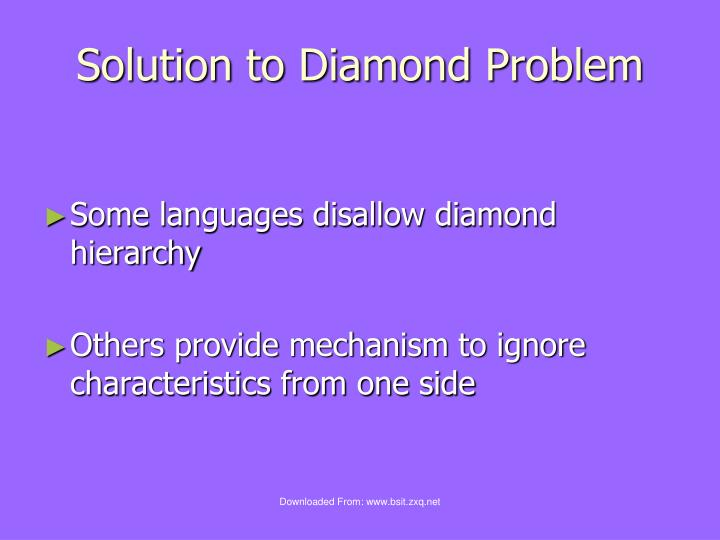 Solution to Diamond Problem