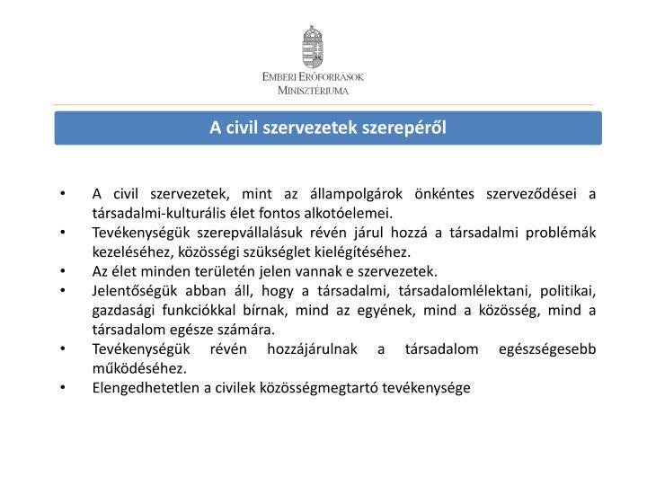 A civil szervezetek szerepéről