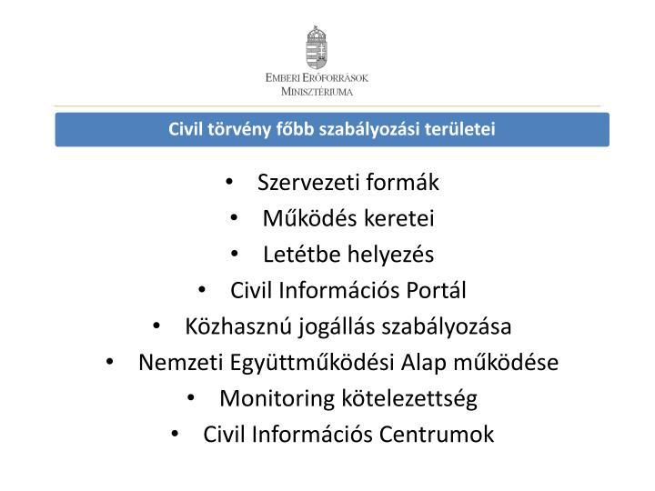 Civil törvény főbb szabályozási területei