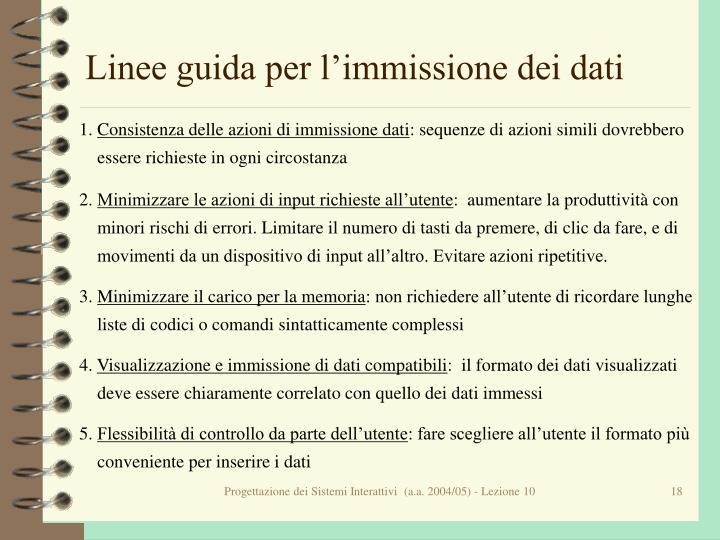 Linee guida per l'immissione dei dati