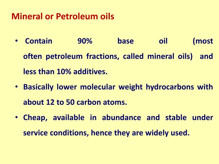 Mineral or Petroleum oils