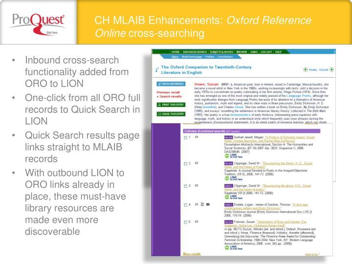 CH MLAIB Enhancements:
