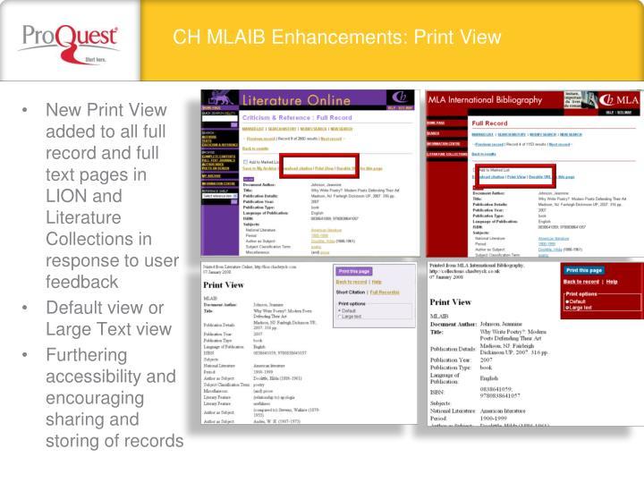 CH MLAIB Enhancements: Print View