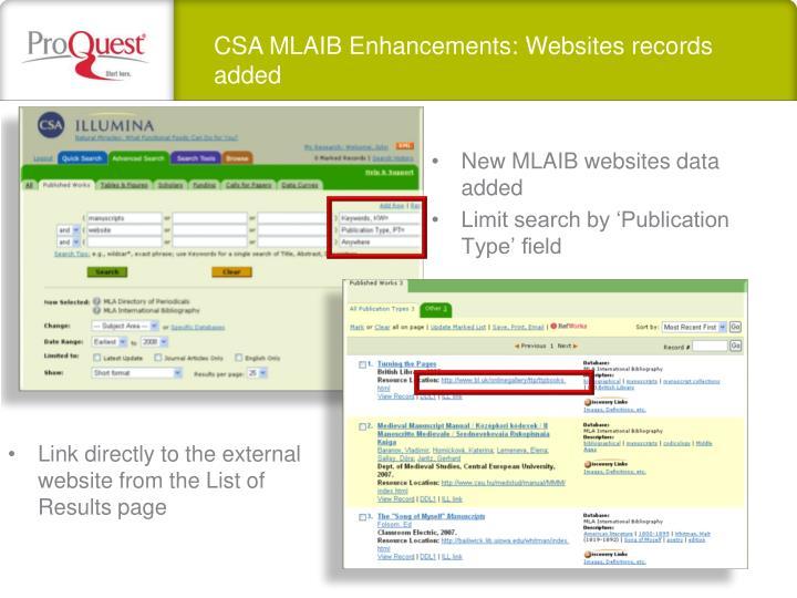CSA MLAIB Enhancements: Websites records added