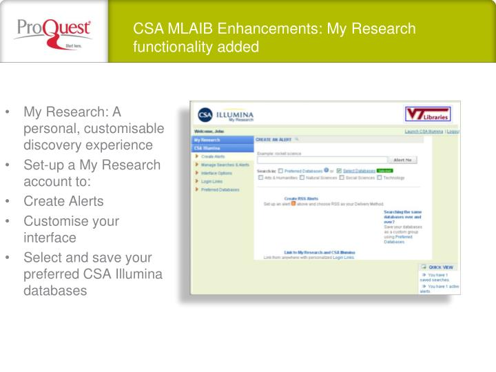 CSA MLAIB Enhancements: My Research functionality added