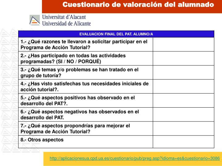 Cuestionario de valoración del alumnado