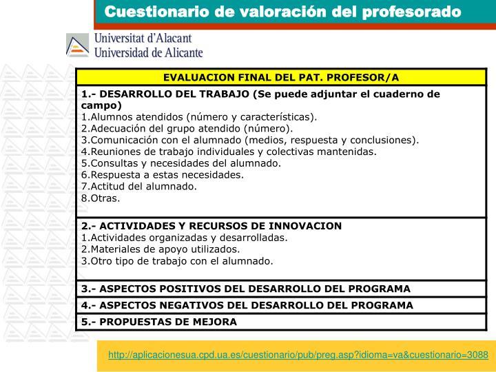 Cuestionario de valoración del profesorado