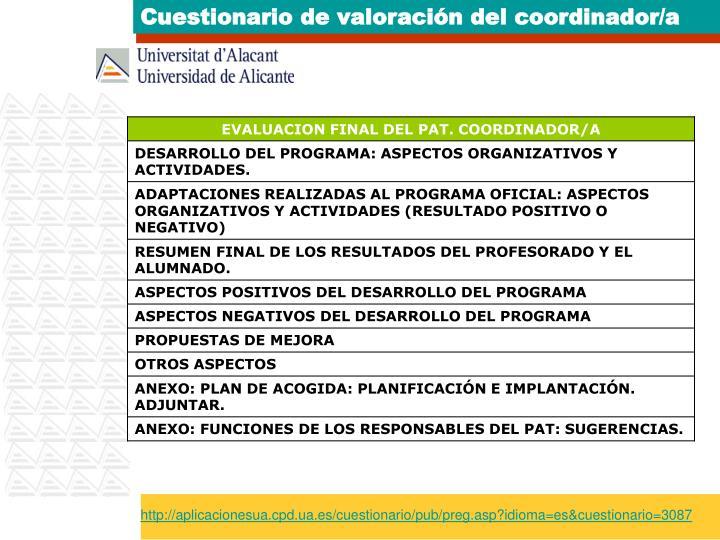 Cuestionario de valoración del coordinador/a