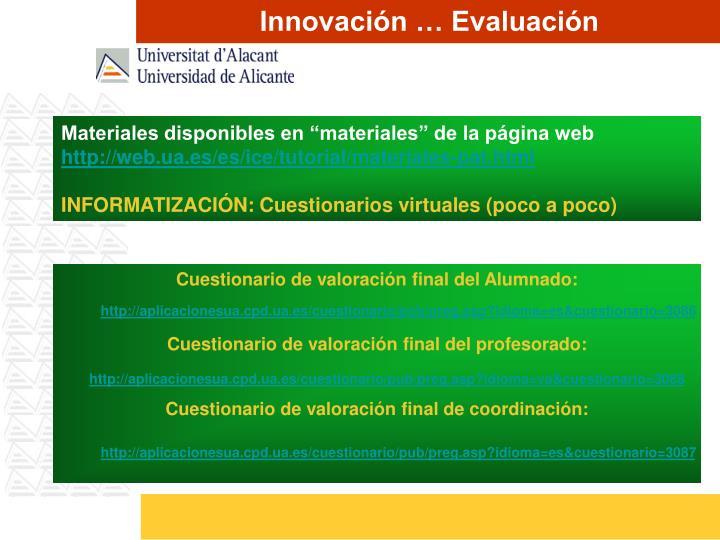 Innovación … Evaluación