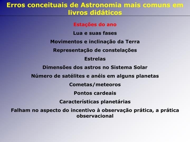 Erros conceituais de Astronomia mais comuns em livros didáticos