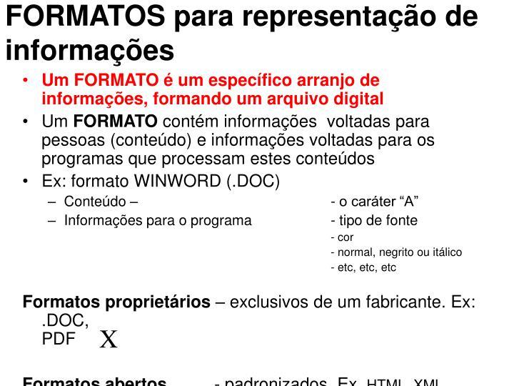 FORMATOS para representação de informações