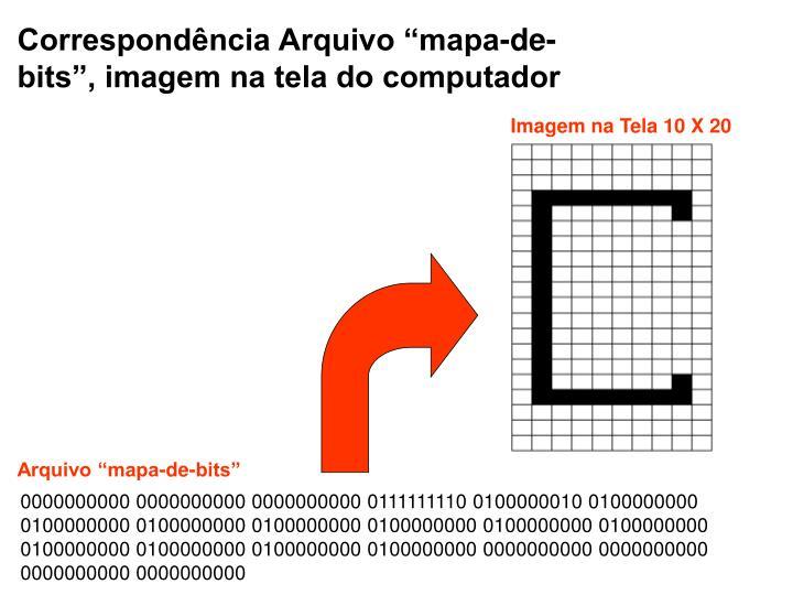 """Correspondência Arquivo """"mapa-de-bits"""", imagem na tela do computador"""