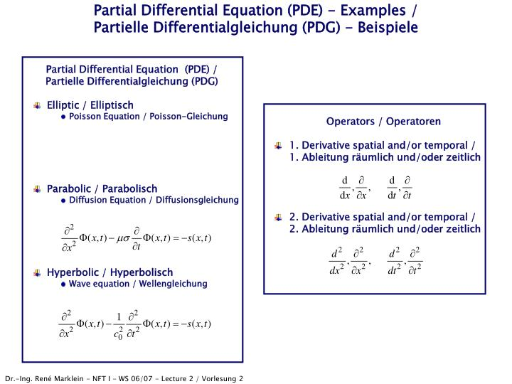 Partial differential equation pde examples partielle differentialgleichung pdg beispiele