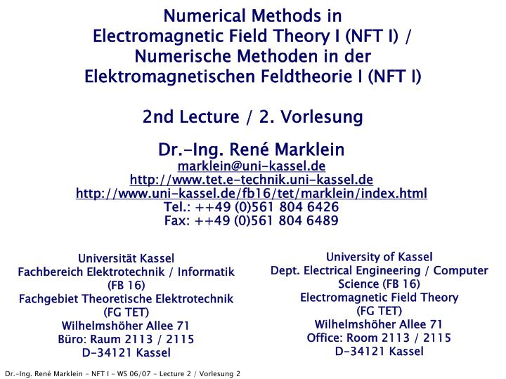Numerical Methods in