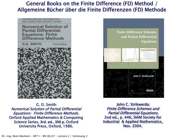 General Books on the Finite Difference (FD) Method