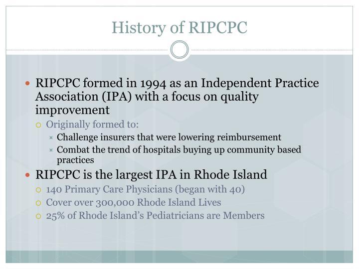 History of RIPCPC
