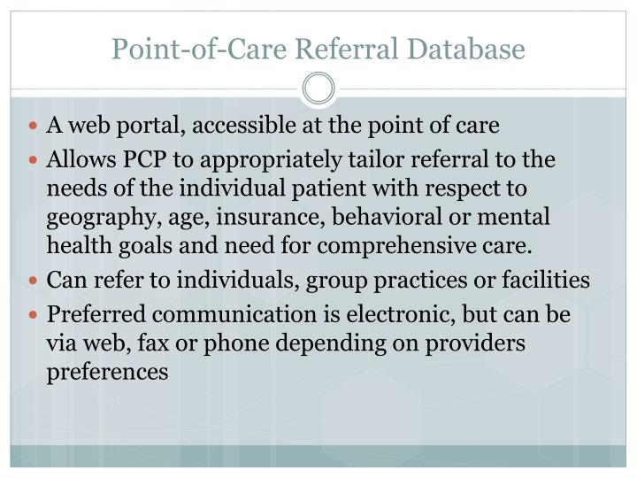 Point-of-Care Referral Database