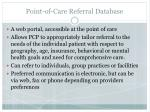 point of care referral database