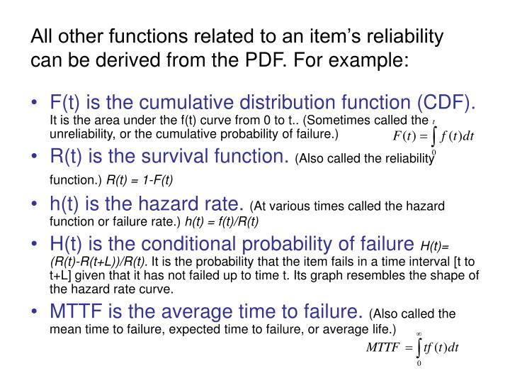 All other functions related to an item's reliability can be derived from the PDF. For example: