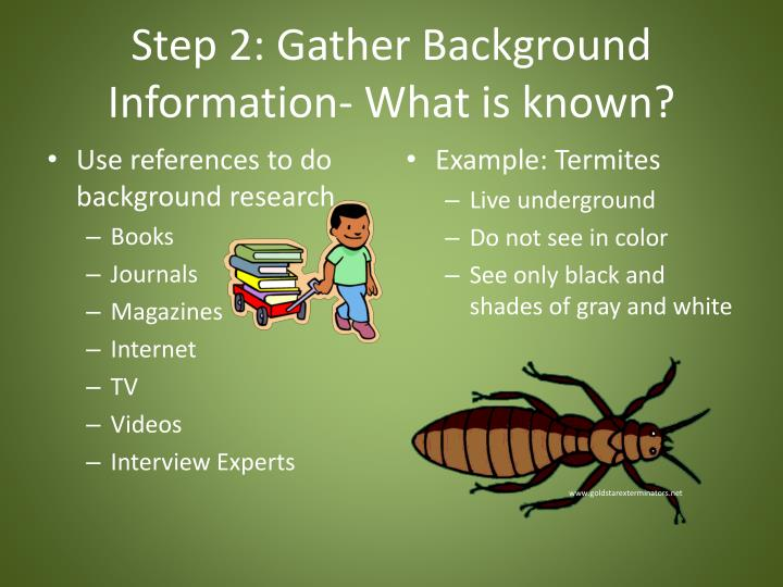 Step 2: Gather Background Information- What is known?