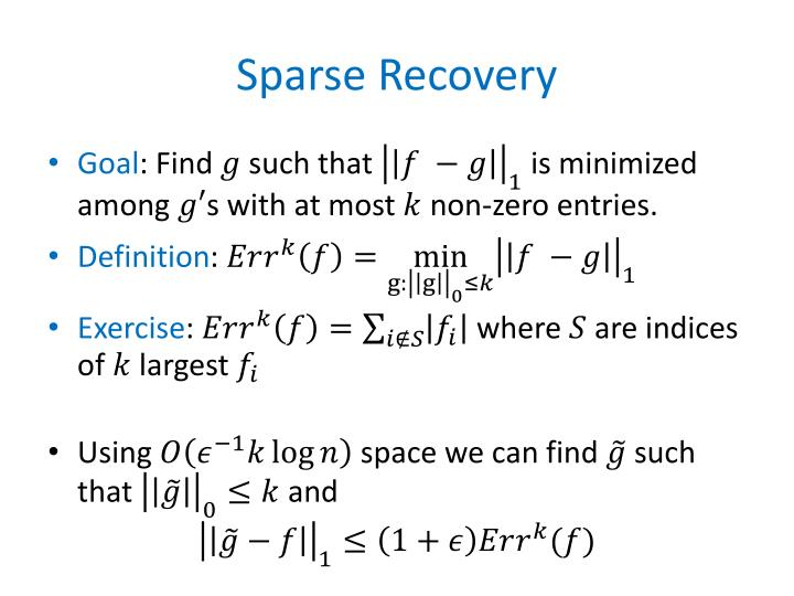 Sparse Recovery
