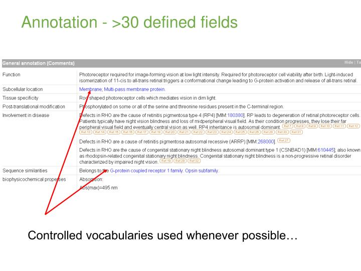 Annotation - >30 defined fields