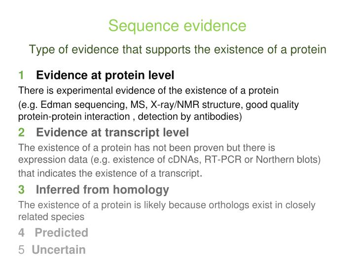 Evidence at protein level