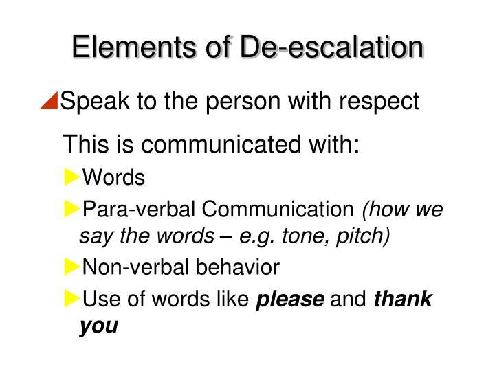 Elements of De-escalation