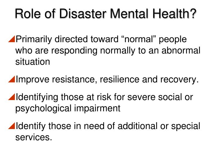Role of Disaster Mental Health?