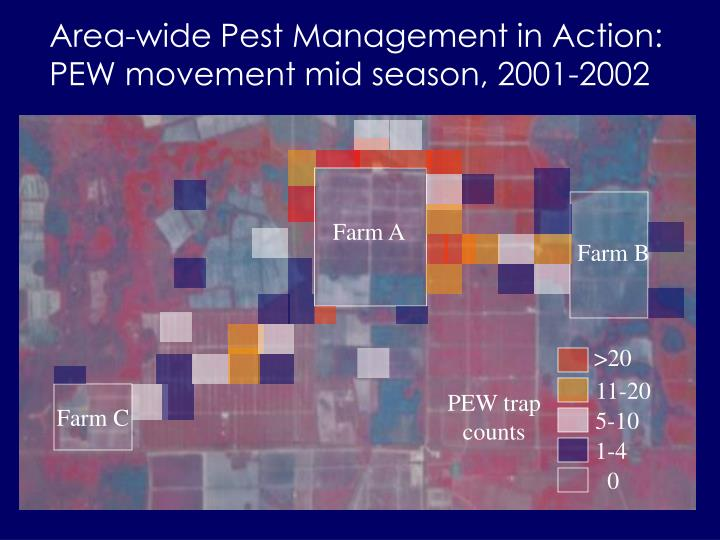 Area-wide Pest Management in Action:        PEW movement mid season, 2001-2002