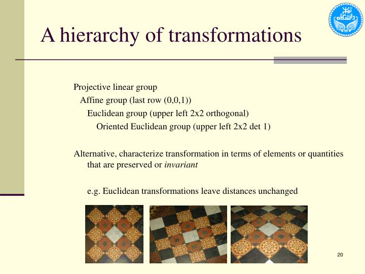 A hierarchy of transformations