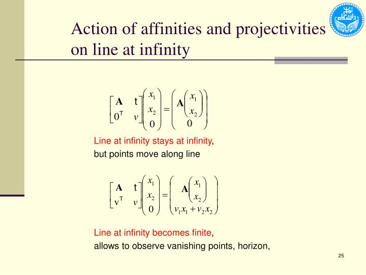 Action of affinities and projectivities