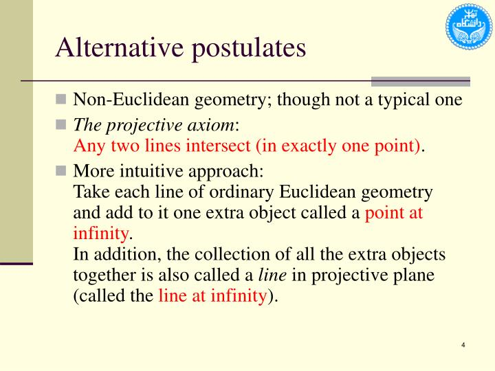 Alternative postulates