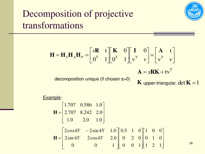 Decomposition of projective transformations