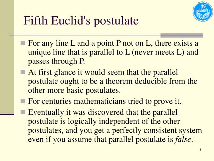 Fifth Euclid's postulate