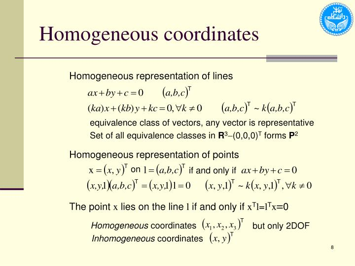 Homogeneous representation of points