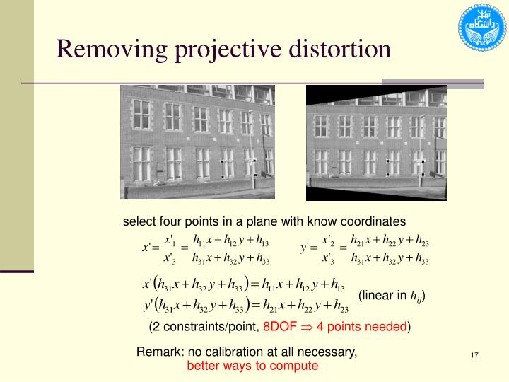Removing projective distortion