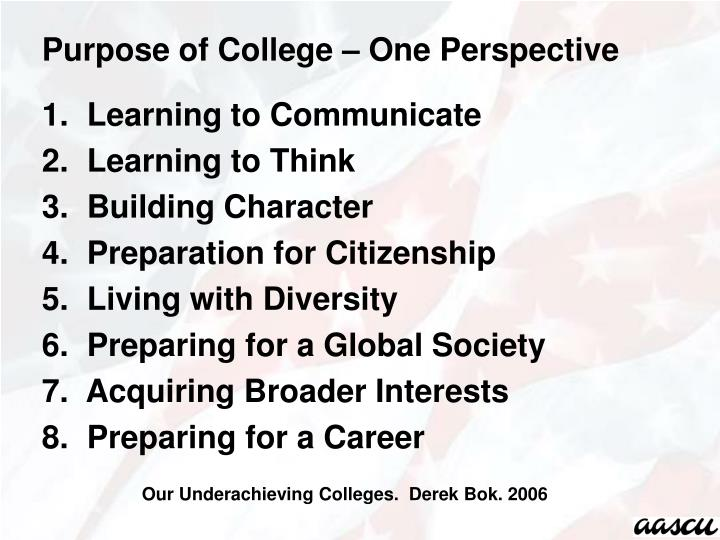 Purpose of College – One Perspective