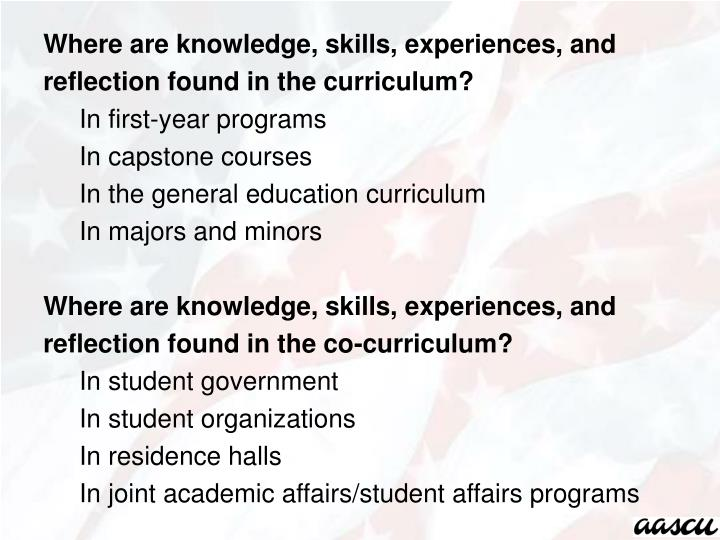 Where are knowledge, skills, experiences, and reflection found in the curriculum?