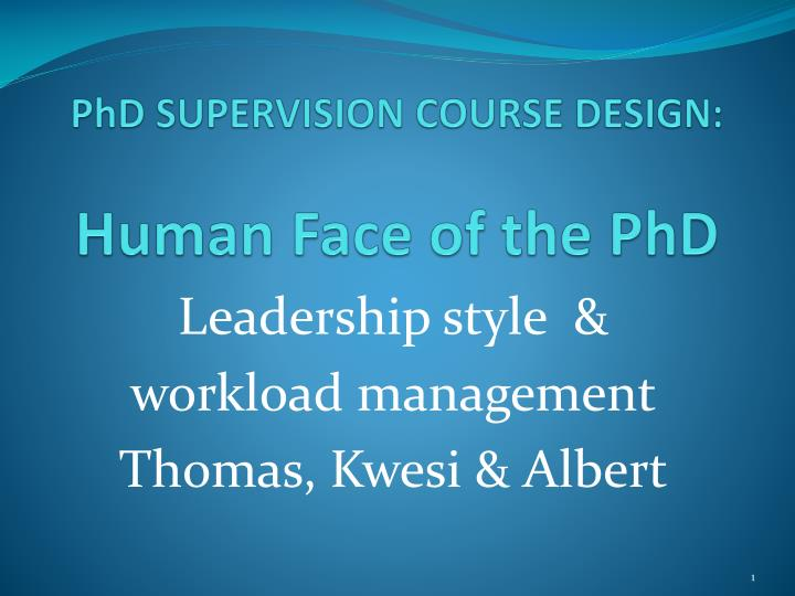 PhD SUPERVISION COURSE